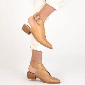 Mi.iM Fran Buckle Wrap Mule Tan Size 7.5